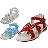 Wholesale 24 Pairs Toddlers 3 flowers Top With Side Velcro Sandals Shoes Sizes 4-9 Assorted Colors White, Lt. Blue, Red