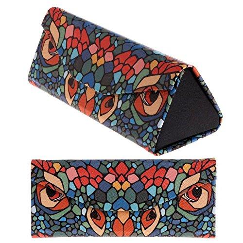 INLAR Cool Printed Foldable Eyeglass Case,Hard Shell Triangular Glasses Box,Portable Magnetic Leather Storage Case for Eyeglass Sunglasses