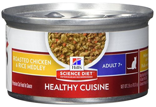 HillS Science Diet Senior Healthy Cuisine Wet Cat Food, Adult 7+ Roasted Chicken & Rice Medley Canned Cat Food, 2.8 Oz, 24 Pack