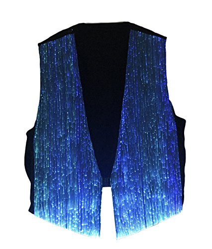LED Fiber Optic Waistcoat Light up Vest for Men Fashion Glow in The Dark Luminous Vest (XL, Blue) by Fiber Optic Fabric Clothing (Image #7)