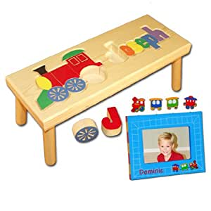 Amazon Com Personalized Wooden Child S Train Name Puzzle