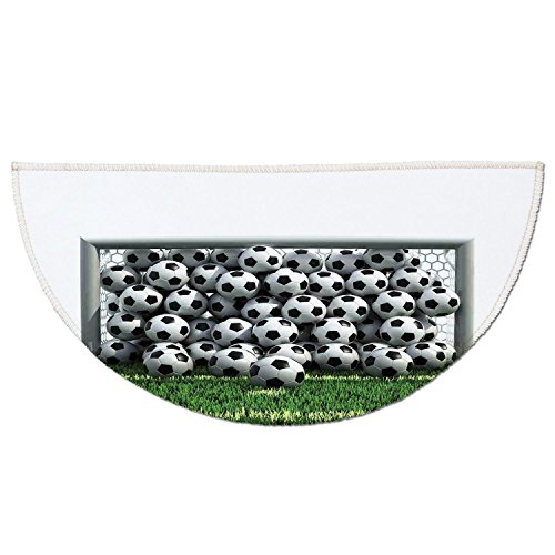 Half Round Door Mat Entrance Rug Floor Mats,Sports Decor,Goal Net Full of Soccer Balls on the Football Field Schoolyard Victory,Garage Entry Carpet Decor for House Patio Grass Water