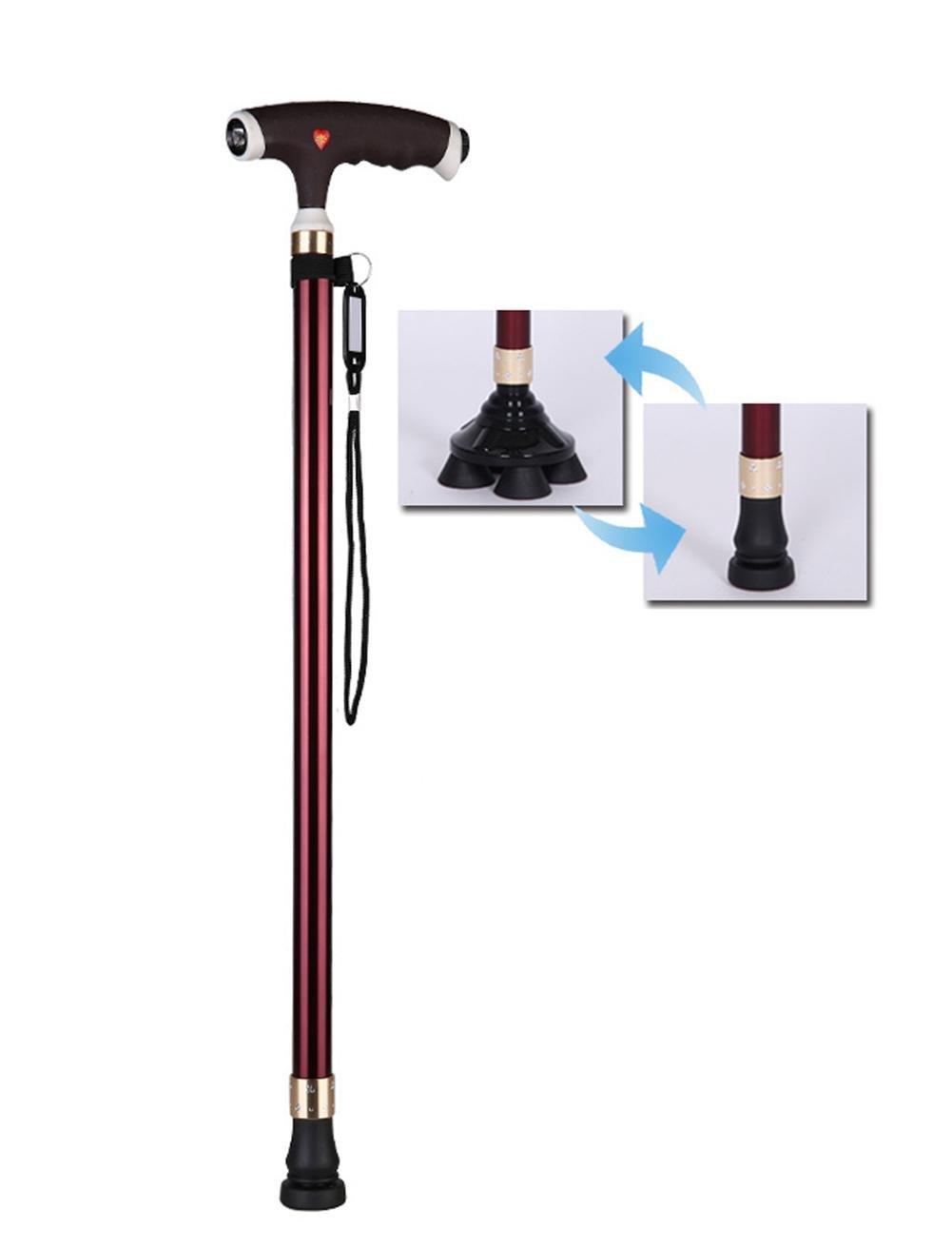 WAOBE Stampella impugnatura in plastica ecocompatibile canna da passeggio in lega di alluminio Marroneee nero piedi un bastone da passeggio 10 livellatore regolabile uomini anziani con comoda stampella a piedi a luce LED , A