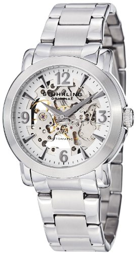 Delphi Mens Skeleton - Stuhrling Original Men's 531G.33112 Classic Delphi Canterbury Skeleton Stainless Steel Bracelet Watch