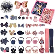 Hippie Soul 18 Pieces Baby Little Girl Hair Clip Set of 2, Gift Set Hair Accessories Cute Hair Clips Ties Bows