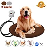 Cheap Dog Heating Pad, Electric Pet Heating Blanket for Dogs Cats Bunny Waterproof Pet Warming Mat Heater – with 2PCS Soft Removable Cover, Chew Resistant Cord, Overheat Protection,11.8″ 15.7″