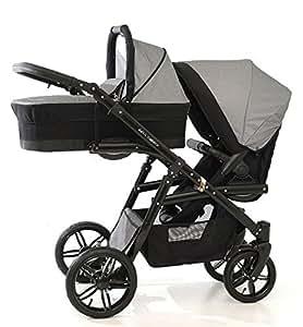 Carro doble (gemelar) niños diferentes edades. 2 sillas + 1 capazo + accesorios