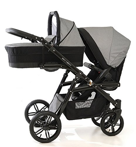 Carro doble (gemelar) niños diferentes edades. 2 sillas + 1 capazo + accesorios. BBtwin. Gris