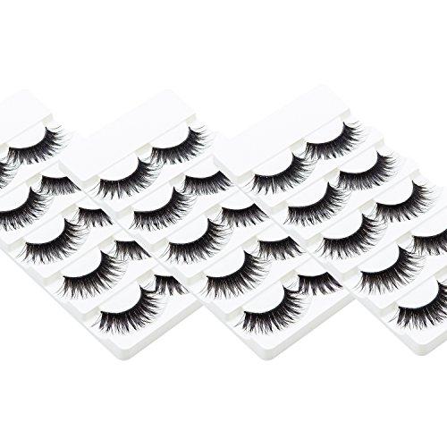 Wleec Beauty False Eyelash Pack Natural Strip Lashes Reusable Eyelashes Set #57 (15 Pairs/3 Pack)