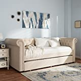 Baxton Studio 424-7325-AMZ Aubrielle Modern and Contemporary Fabric Trundle Daybed, Grey, Twin