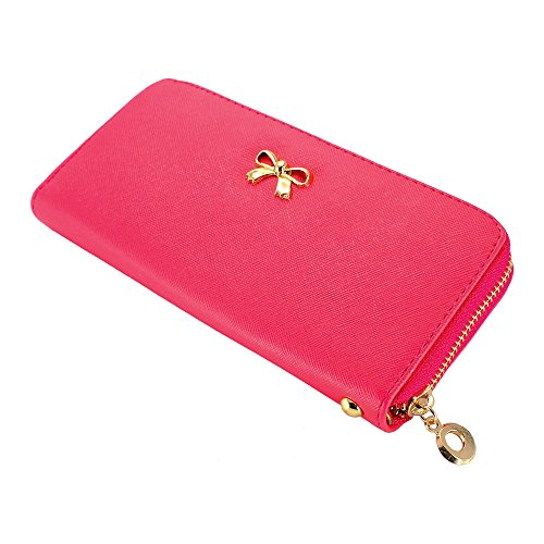GEARONIC TM New Fashion Lady Bow-Tie Zipper Around Women Clutch Leather Long Wallet Card Holder Case Purse Handbag Bag - Hot Pink