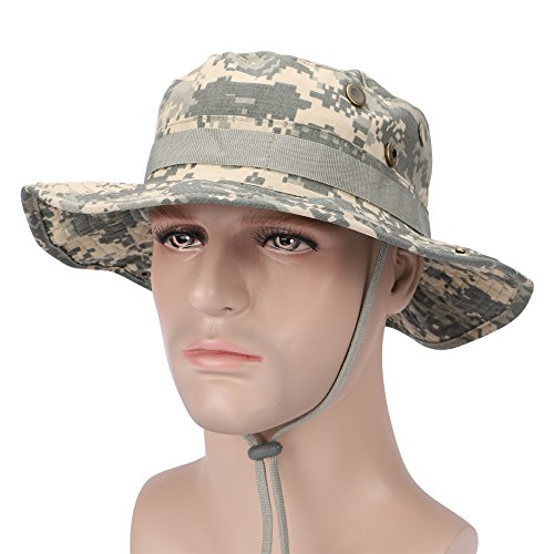 ROUTESUN Men's Hunting Fishing Sun Hat Snap Wide Brim Bucket Hat with String,Military Camouflage Boonie Hat (ACU Military)