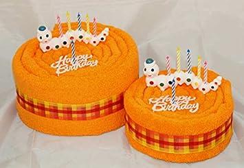 "Toalla de mano Pastel/Tarta ""happy birthday/gusano"", colour -"
