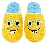 Chatties Emoji Cute Cartoon Kids/Teens Slippers -Slip On Warm Cozy Soft and Funny Comfort - Dot Non Slip Grip Bottoms Slipper (Large-2/3, Glasses)