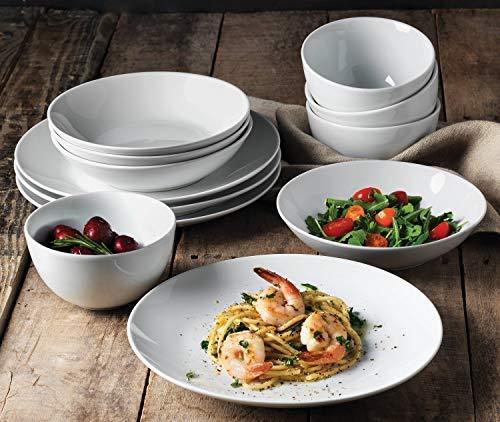 (Denmark Tools for Cooks 12-Piece Vitrified Porcelain Durable Dinnerware Set - White)
