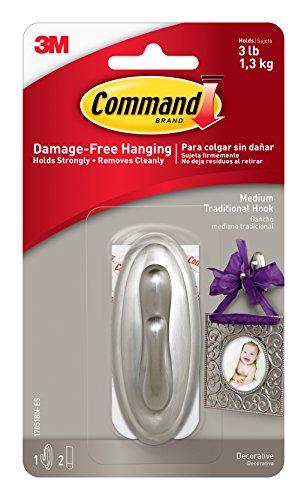 Command Traditional Plastic Hook, Medium, Brushed Nickel, 1-Hook (17051BN-ES) ()