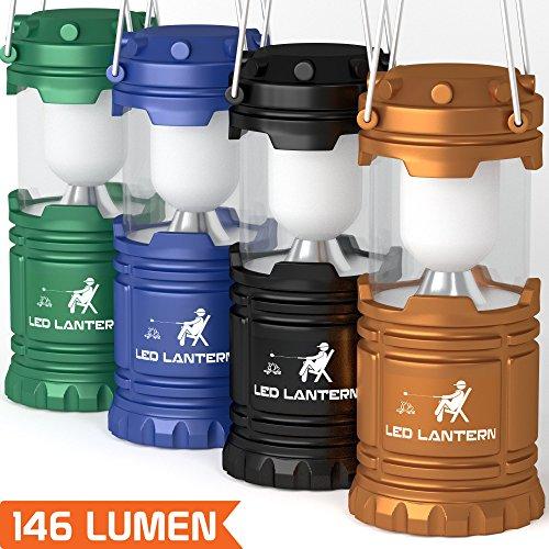 [4 Pack] LED Camping Lantern Flashlights - Hurricane Emergency Tent Light - Backpacking, Hiking, Fishing, & Outdoor