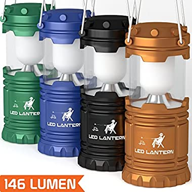 [4 Pack] LED Camping Lantern Flashlights - Hurricane Emergency Tent Light – Backpacking, Hiking, Fishing, & Outdoor Lighting Bug Out Bag Camping Equipment | Portable, Compact, & Water Resistant Gift