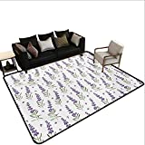 Home Custom Floor mat,Nature Pattern with Delicate Lavender Twigs Fresh Organic Plants Herb 6'6''x9',Can be Used for Floor Decoration