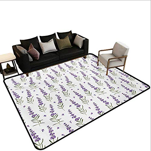 Home Custom Floor mat,Nature Pattern with Delicate Lavender Twigs Fresh Organic Plants Herb 6'6''x9',Can be Used for Floor Decoration by BarronTextile (Image #6)