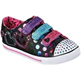 Skechers Girls' Twinkle Toes Chit Chat Street Beat Sneaker,Black/Multi,US 2 M
