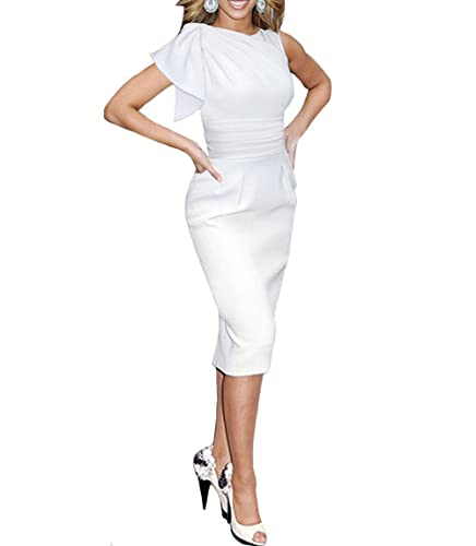 Tecrio Women's Elegant Ruched Wear to Work Party Prom Midi Bodycon Coctail Dress