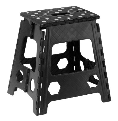 Folding Step Stool 15 Inch with Anti Slip Dots (Black) by Superior Performance