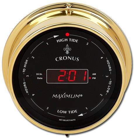 Maximum Weather Instruments Cronus Time/East Coast Tide Clock - Brass case, Black dial