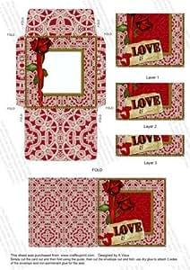 Rosa Roja sobre fondo de amor Mini tarjeta apiladora Oia por Ann-Marie Vaux