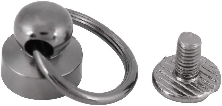 20 unids cuero artesanía remache de metal tornillos diy accesorios bolsa con hebilla de anillo de tirón para monedero/teléfono decoración de la caja(Color de la pistola)