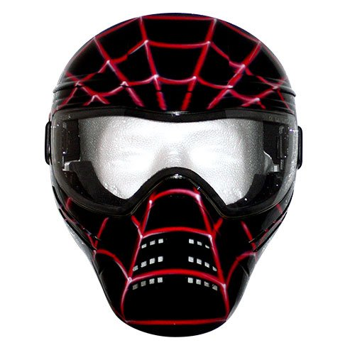 Save Phace Tagged Series Spidey Black-Tagged Tactical Mask with Custom Handpainted Graphic, Black Mask with Red Spider Web Graphics by Save Phace