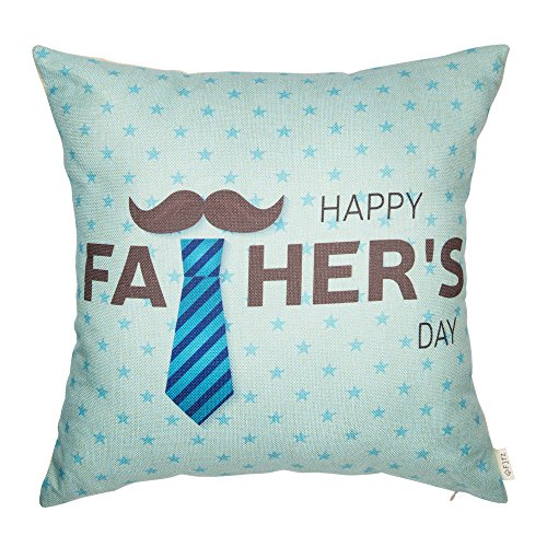 Fjfz Cotton Linen Home Decorative Throw Pillow Case Cushion Cover for Sofa Couch Happy Father's Day, Moustache and Tie, Gift Ideas for Dad, 18 x 18