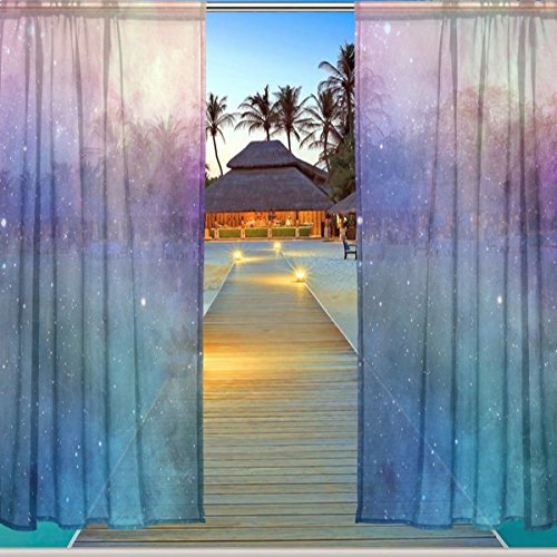 ALAZA Window Sheer Curtain Panels,Christmas Decoration Universe Galaxy Nebula Space Planet,Door Window Gauze Curtains Living Room Bedroom Kid Office Window Curtain 55x84inch Two Panels Set Star 104