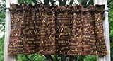 Cheap Christian Faith Brown & Gold Religious Bible Verses Handcrafted Curtain Valance