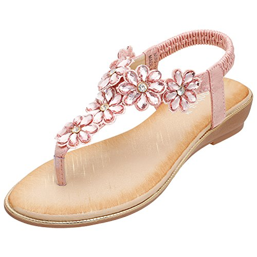 Pink Jeweled Sandal (ZOEREA Ladies Sandals Peep Toe T-Strap Bohemia Women Shoe Summer Beach Holiday (9 B(M) US, Crystal Pink))