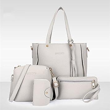 Amazon.com: Rurah Fashion New Women Four Set Handbag Shoulder Bags ...