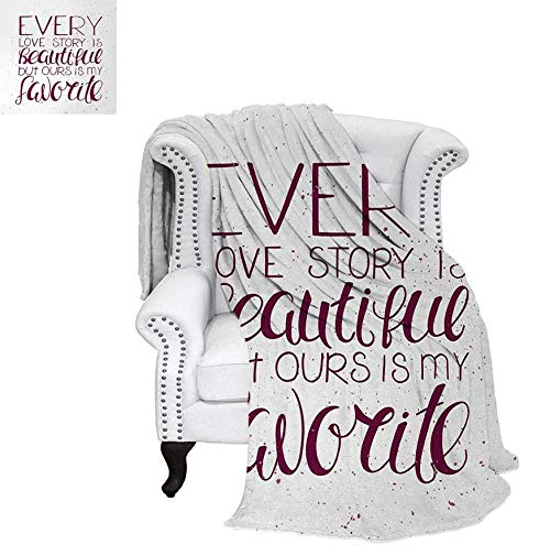 Adoration Quilts - Digital Printing Blanket Romance Quote Our Story is My Favorite Love and Adoration Theme Calligraphic Summer Quilt Comforter 70