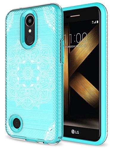 LG K20 Plus Case, LG K20 V Case, LG Harmony Case, LG Grace Case, Rosebono Premium Sleek Shockproof Carbon Fiber Mandala Pattern Design Case Cover for LG LV5 (Green Mehandi)