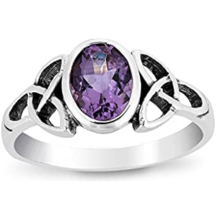 Women's 925 sterling silver 2.72 carat Natural 9*9mm Amethyst gemstone rings by Dormith® platinum plating