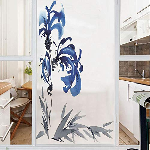 Decorative Window Film,No Glue Frosted Privacy Film,Stained Glass Door Film,Watercolors Eastern Floral Motif Brushstroke Effect Hand Drawn Image,for Home & Office,23.6In. by 59In Blue Grey