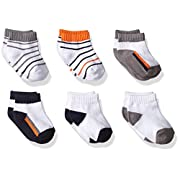 Yoga Sprout Baby 6-Pack No Show Socks, Navy/Orange, 0-6 Months