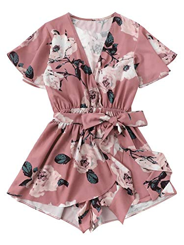 Romwe Women's Plus Size Floral Party Beach Romper Casual Short Jumpsuit Pink 2XL ()