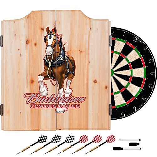 Trademark Gameroom AB7010-CLY-R Budweiser Dart Cabinet Set with Darts & Board - Clydesdale Red