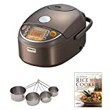 Zojirushi NP-NVC10 Induction Heating Pressure Rice Cooker & Warmer + Cooking Book + Stainless Measuring Cup Set