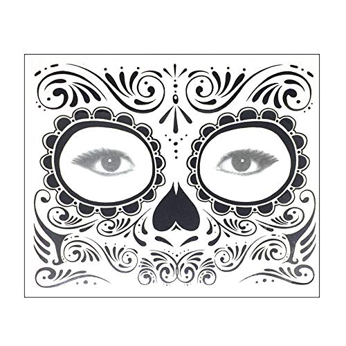 Botrong Halloween Temporary Face Art Waterproof Mask Sugar Skull Tattoo Beauty Sticker (H) ()