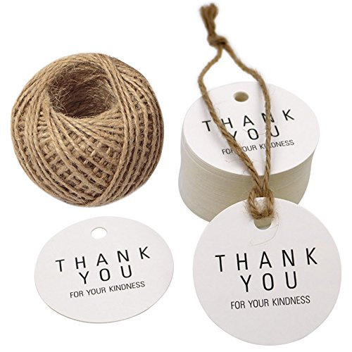 Thank You Tags, 100 PCS Kraft Paper Gift Tags, Price Tags Craft Bonbonniere Kraft Paper Hang Tags with 100 Feet Jute Twine