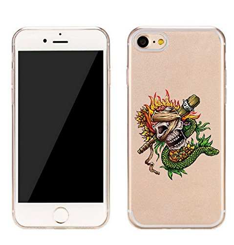 Cute IPhone 7( 4.7 Inch ) Case,Skull With Snake and Flames creative Pattern --Made of premium TPU material for Apple iPhone 7 ( 4.7 Inch (Flame Snake)