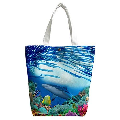 Sac repas école main Sac Shopping de à sac Violetpos poisson bandoulière multicolores Sacs cartable personnalisé Corail Canvas à requin FwqO7cg0f