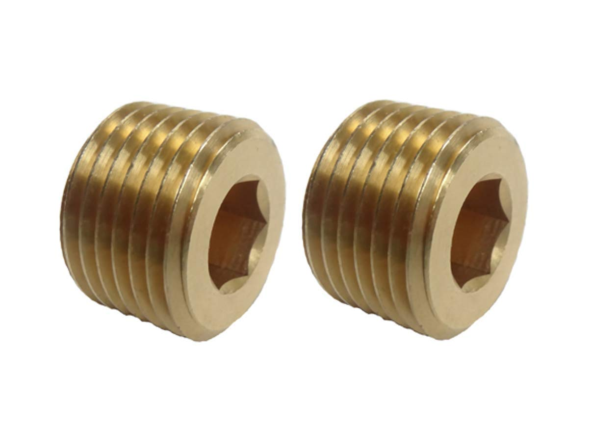 VE-FITS 3//8 Inch Pipe Plug Countersunk Brass Fittings 18 Threads, 0.46 Inch Length 2 Pieces