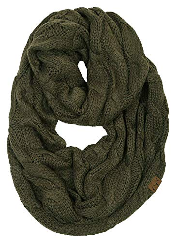 S1-6100-33 Funky Junque Infinity Scarf - Olive (Solid)